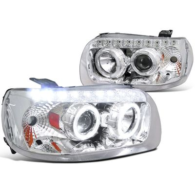 05-07 Ford Escape Angel Eye Halo & LED DRL Projector Headlights - Chrome