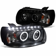 05-07 Ford Escape Black Smoke Dual Halo SMD LED DRL Tinted Projector Headlights