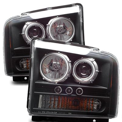 05-07 Ford F250 /350 / 450 / 550 Super Duty CCFL Halo Projector Headlights - Black