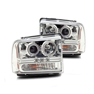 05-07 Ford F250 /350 / 450 / 550 Super Duty CCFL Halo Projector Headlights - Chrome