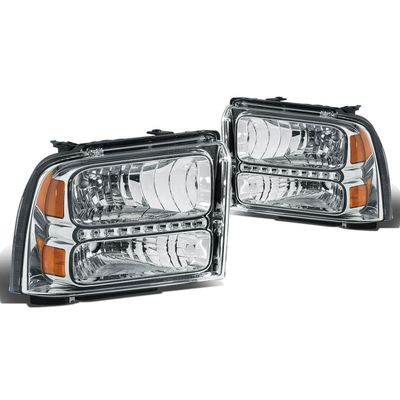 05-07 Ford F250 F350 Super Duty LED Crystal Headlights - Chrome