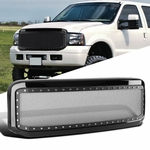 05-07 Ford F250 F350 Superduty Excursion Black ABS & Stainless Steel Mesh Hood Grille