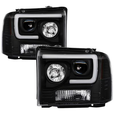 05-07 Ford F250-F550 / 05 Excursion LED Tube Projector Headlights - Black