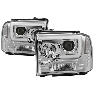 05-07 Ford F250-F550 / 05 Excursion LED Tube Projector Headlights - Chrome