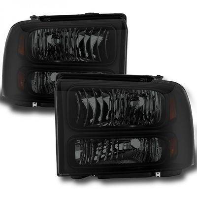 05-07 Ford F250-F550 SuperDuty Replacement Headlights - Black Smoked