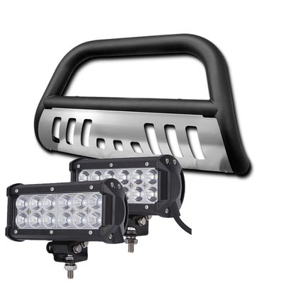 05-07 Jeep Grand Cherokee / Commander Front Bull Bar Guard + 36W LED Light Bar - Black Skid Plate