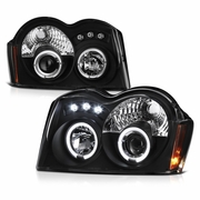 05-07 Jeep Grand Cherokee Dual Halo & LED Projector Headlights - Black
