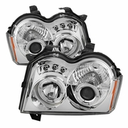 05-07 Jeep Grand Cherokee Dual Halo & LED Projector Headlights - Chrome