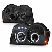 05-07 Jeep Grand Cherokee Dual Halo & LED Projector Headlights - Smoked