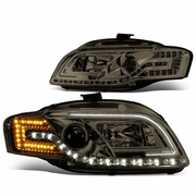 05-08 Audi A4 / 06-08 S4 [Halogen Model] LED DRL / Signal Projector Headlights - Smoked