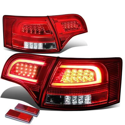 05-08 Audi B7 A4/S4 Avant Chrome Housing Red Lens 3D LED Rear Tail Brake + Corner Signal Light
