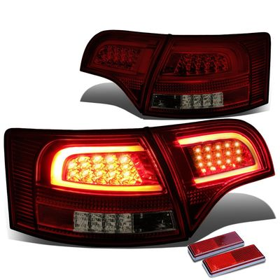 05-08 Audi B7 A4/S4 Avant Smoked Housing Red Lens 3D LED Rear Tail Brake + Corner Signal Light