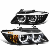 05-08 BMW 3-Series E90 Sequential LED Signal Projector Headlights - Black