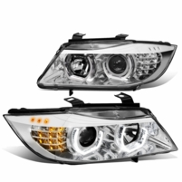 05-08 BMW 3-Series E90 Sequential LED Signal Projector Headlights - Chrome