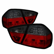 05-08 BMW E90 3-Series 4DR Sedan Euro Style LED Tail Lights - Red / Smoked ALT-YD-BE9006-LED-RS By Spyder