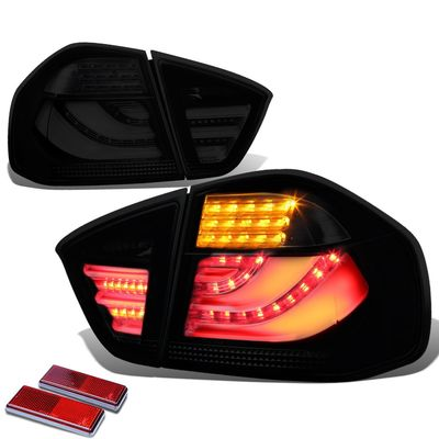 05-08 BMW E90 3-Series Black Housing Smoked Lens 3D LED Rear Tail Brake + Corner Signal Light