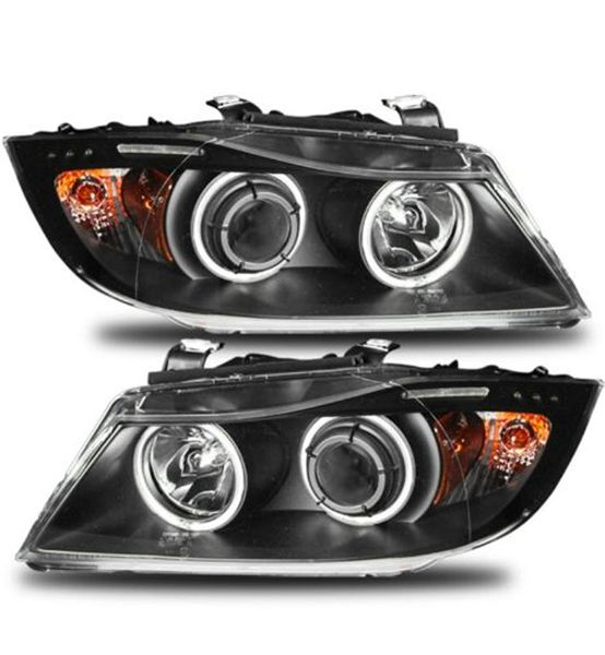 05-08 BMW E90 3 Series LED Angel Eye Halo & LED Projector Headlights - Black