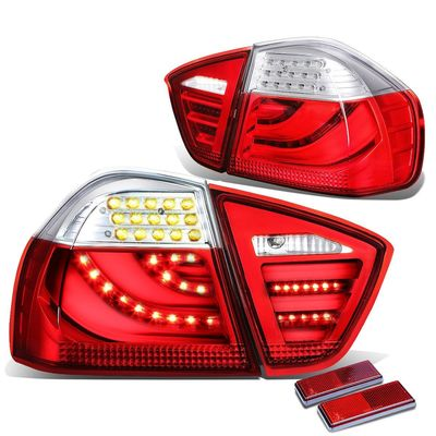 05-08 BMW E90 3-Series Red Housing Clear Lens 3D LED Rear Tail Brake + Corner Signal Light