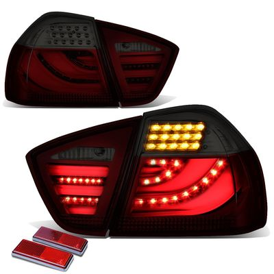 05-08 BMW E90 3-Series Red Housing Smoked Lens 3D LED Rear Tail Brake + Corner Signal Light