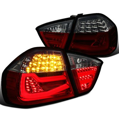 05-08 BMW E90 3 Series Sedan LED Tube Tail Lights - Euro Red