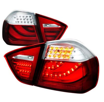 05-08 BMW E90 3-Series Sedan Performance LED Tail Lights - Red Clear