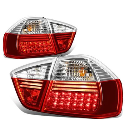 05-08 BMW E90/E91 3-Series 4-Door Pair of Clear & Red Lens LED Brake+Corner Signal Tail Light