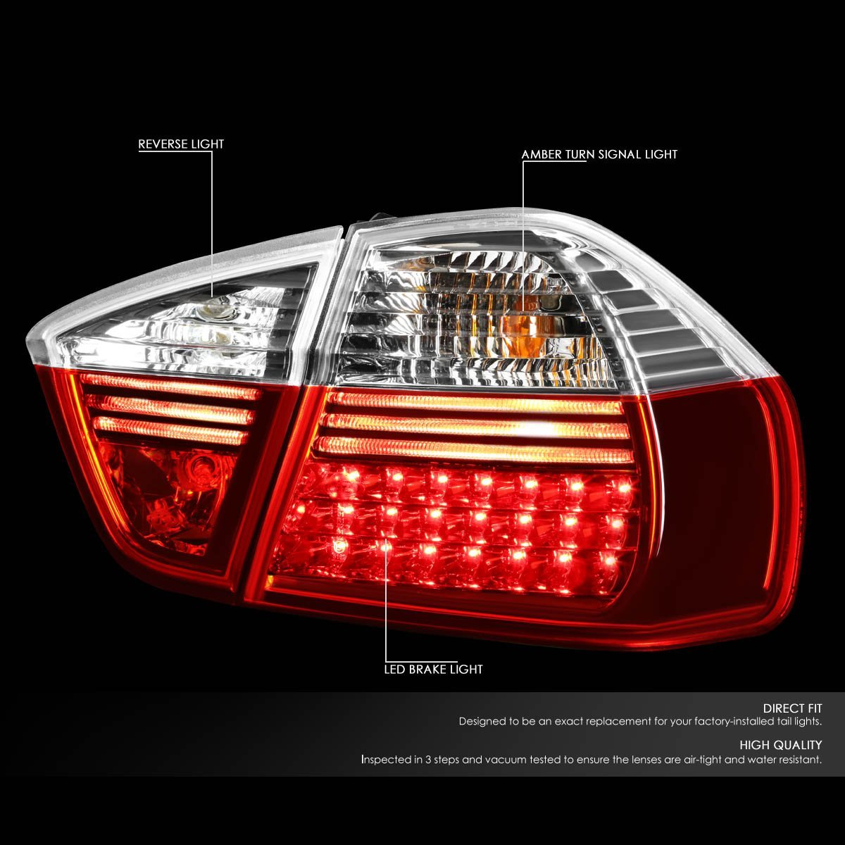 05-08 BMW E90/E91 3-Series 4-Door Pair of Clear & Red Lens LED