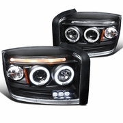 05-07 Dodge Dakota Dual Angel Eye Halo & LED Strip Projector Headlights - Black