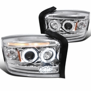 05-07 Dodge Dakota Dual Angel Eye Halo & LED Strip Projector Headlights - Chrome