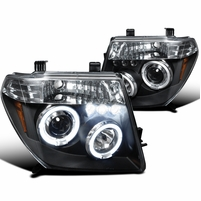 05-08 Nissan Frontier / 05-07 Pathfinder Angel Eye Halo & LED Projector Headlights - Black