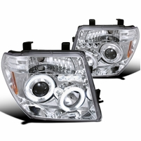 05-08 Nissan Frontier / 05-07 Pathfinder Angel Eye Halo & LED Projector Headlights - Chrome