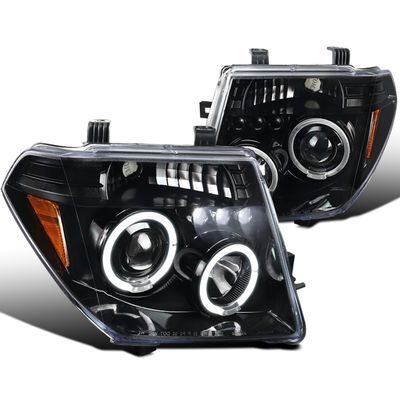 05-08 Nissan Frontier / 05-07 Pathfinder Angel Eye Halo & LED Projector Headlights - Gloss Black / Clear