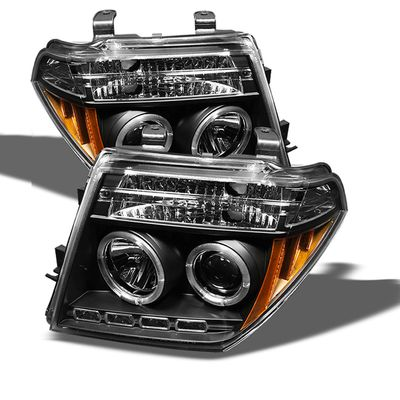05-08 Nissan Frontier / 05-07 Pathfinder  Halo LED Projector Headlights - Black