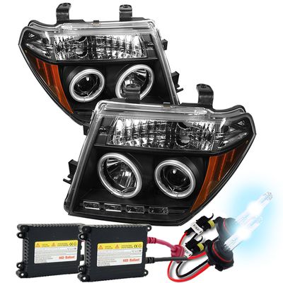 HID Xenon + 05-08 Nissan Frontier / Pathfinder Angel Eye Halo & LED Projector Headlights - Black
