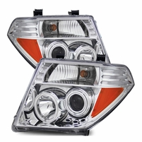 05-08 Nissan Frontier / Pathfinder LED Halo Projector Headlights - Chrome