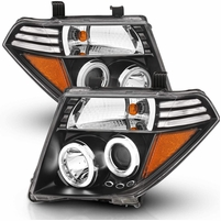 05-08 Nissan Frontier / Pathfinder LED Halo Projector Headlights - Black