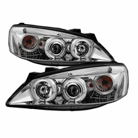 2005-2010 Pontiac G6 Dual Angel Eye Halo & LED Projector Headlights - Chrome