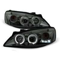 2005-2010 Pontiac G6 Dual Angel Eye Halo & LED Projector Headlights - Smoked