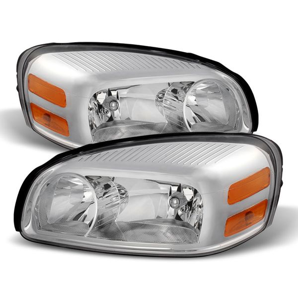 05-09 Chevy Uplander Crystal Replacement Headlights - Chrome