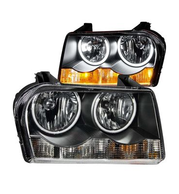 05-09 Chrysler 300 CCFL Halo Ring Crystal Headlights - Black