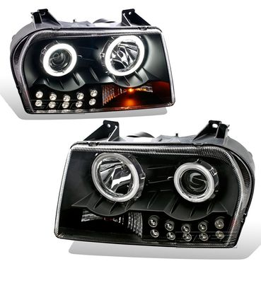 05-09 Chrysler 300 Dual CCFL Halo & LED Projector Headlights - Black