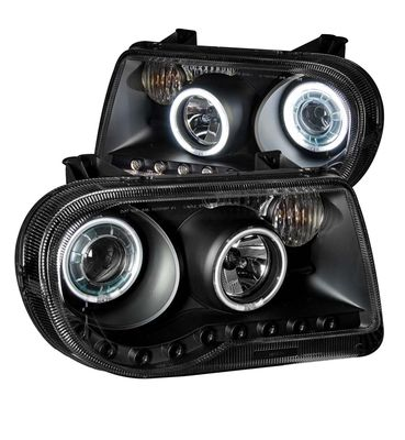 05-09 Chrysler 300C Dual CCFL Halo & LED DRL Projector Headlights - Black