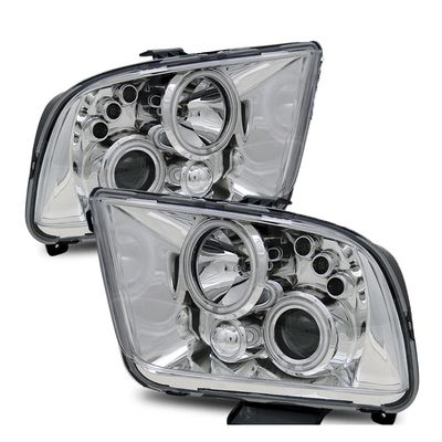 05-09 Ford Mustang CCFL Dual Halo & LED Projector Headlights - Chrome
