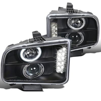 05-09 Ford Mustang Dual Angel Eye Halo & LED Projector Headlights - Black
