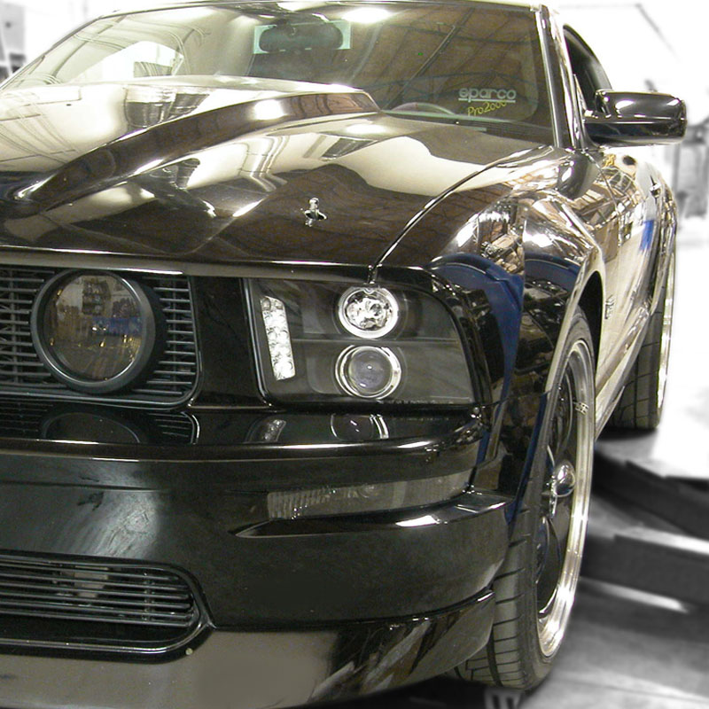 05 09 ford mustang dual angel eye halo led projector headlights black spec d tuning