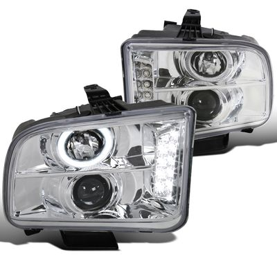 05-09 Ford Mustang Dual Angel Eye Halo & LED Projector Headlights - Chrome
