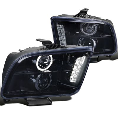 05-09 Ford Mustang Dual Angel Eye Halo & LED Projector Headlights - Glossy Black
