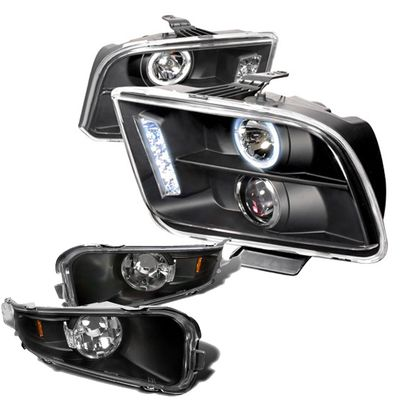 05-09 Ford Mustang Euro Style Halo Projector Headlights With Bumper Lens - Black