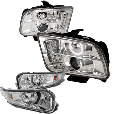 05-09 Ford Mustang Euro Style Halo Projector Headlights With Bumper Lens - Chrome