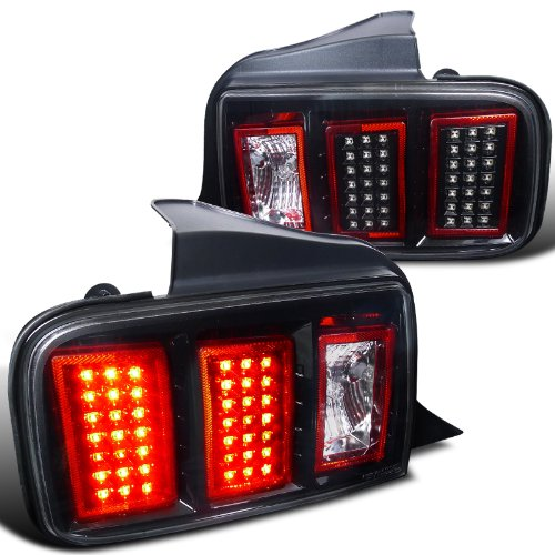 05-09 Ford Mustang Euro Style LED Tail Lights - Black